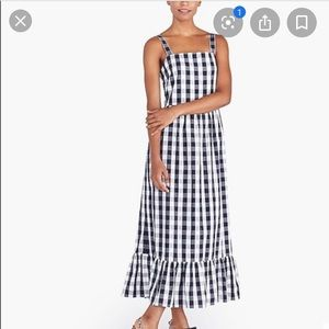 J. Crew Gingham Cotton Dress in Navy and White